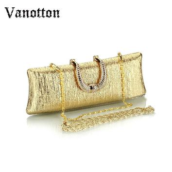 Fashion Black And Gold Clutches Evening Bag Ladies Luxury Crystal Clutch Evening Bags Women Small Messenger Chain Shoulder Bag