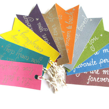 Handwritten Calligraphy Love Quotes Gift Tags -  Gift tags for your loved ones - Package of 10 hand lettered gift tags