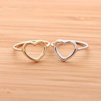 OPEN HEART ring in 925 sterling gold  by bythecoco on Zibbet