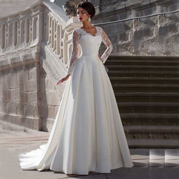Lace Long Sleeve V Neck A Line Zipper Back Wedding Dresses  Customized