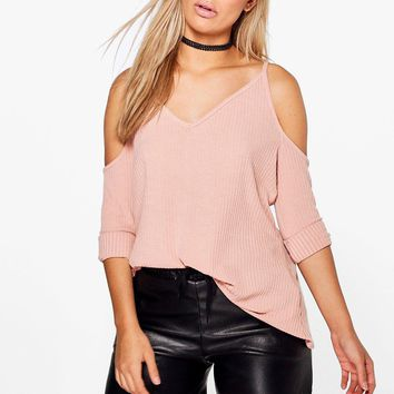 Plus Amy Knitted Open Shoulder Jumper | Boohoo