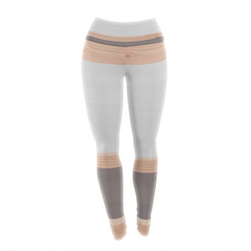 "KESS Original ""Spring Swatch - Grey"" Gray Wood Yoga Leggings"