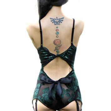 Artemis Teddy Lingerie Set, Black Mesh Teddy, Mesh Teddy, Lace Teddy, Floral Teddy, Green Teddy, Black Teddy, Teddy with Bow, Christmas Gift