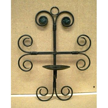 Designer Pillar Candle Holder Wrought Iron Wall Mount 19in x 13in x 7in -- Used
