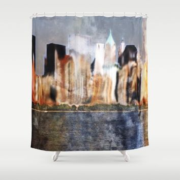 Skyline of New York City Shower Curtain by Karl-Heinz Lüpke