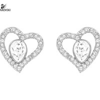 Swarovski Clear Crystal Pierced Earrings Hearts NERINA Rhodium #5101152