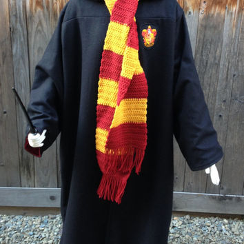 Harry Potter Style Wool & Satin Griffindor Robe and Scarf Set Costume Dress Adult Custom