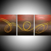 """View: triptych 3 panel wall art colorful metallic gold images """" Gold Horizon """" effect 3 panel canvas wall abstract modern canvas pop abstraction 48 x 20 """" other sizes available 
