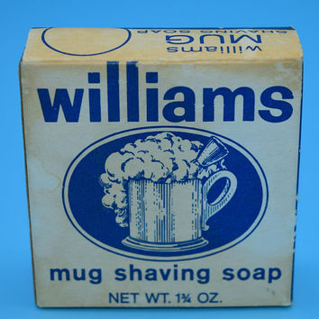 Williams Mug Shaving Soap Vintage Original Soap and Box Shaving Soap Bar Tallow Lather Facial Soap Gift for Him Fathers Day Gift