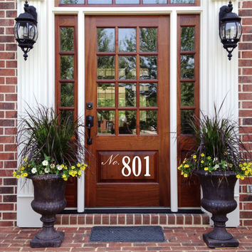 Front Door Number Decal • by Decor Designs Decals, Street Number On Your Front Door Adds Curb Appeal - House Address Number Door Decal Spring Decor Made In Usa Z45
