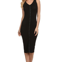 Sleeveless Solid Knit Sheath Dress - Black