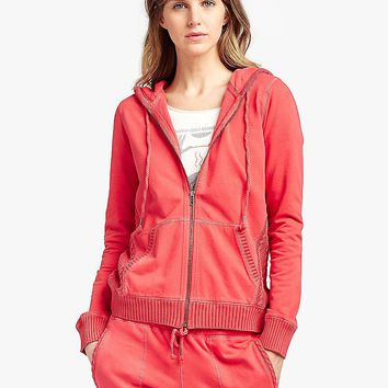Lucky Brand Sweater Mixed Zip Up Womens - Festive Red