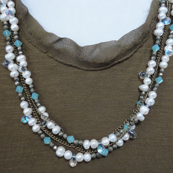 Pearls and Chain Long Layered Wrap Necklace/Double Strand/Swarovski Pacific Opal/Bronze Chain/Raindrop Beads