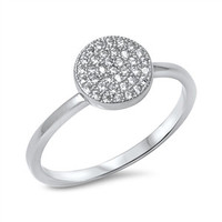 925 Sterling Silver CZ Simulated Diamond Cluster Pave Round Center Ring 9MM