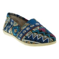 Soda Object Women's Canvas Slip-on Shoes Blue Multi
