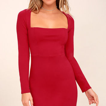 Play the Part Red Long Sleeve Bodycon Dress