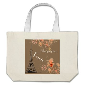Shopping in Paris Graphic Floral Bag