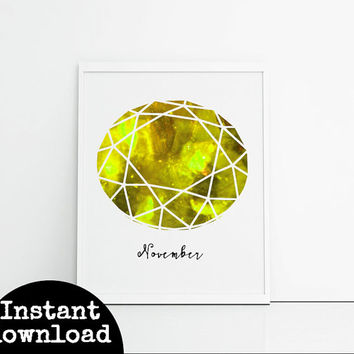 Printable birthstone wall art print, november birthday yellow topaz or citrine. Gift for Scorpian yellow gemstone birthday gift downloadable
