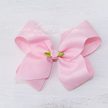 DDLG BDSM ABDL Big Floppy Pink Hairbow Bow Barrette Clip with Rosette Flower Rose Baby Pet Play Kitten Babygirl Daddy's Little Girl Cosplay