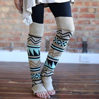 Aztec Leg Warmers - tribal print boot socks legwarmers - over the knee leg warmers