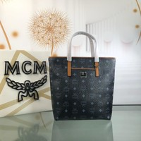 Kuyou Gb79810 Mcm 19 New Balck Book Tote Bag In Visetos Grained  Leather 34x26cm