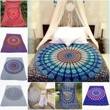 DCCKJG2 7 Types Portable Movable Boho India Mandala 210x150cm Chiffon Tapestry Wall Hanging Bed Manta Beach Towel