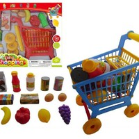 Kid's Buildable Shopping Cart with 24 Pcs Grocery Accessories( Color May Vary)