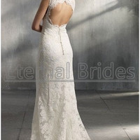 Illusion V neckline Slim A-line Wedding dress Alencon lace Keyhole back zipper covered buttons sweep train