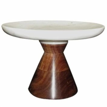 Alluring Marble Cake Plate With Wooden Stand, White And Brown-A and B Home