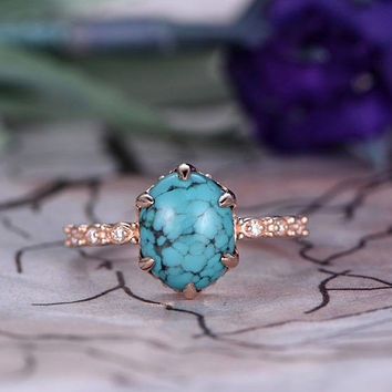 8x10mm Oval Cut Turquoise Engagement Ring,14k Rose Gold band,Anniversary ring,Promise ring,Half Eternity,Claw Prongs,Pave Set,Gift for her