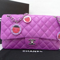 Auth CHANEL CC Logo Matelasse W Chain Shoulder Bag Ladybug Charm 10141181200 jF