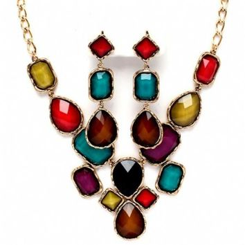 Marlie's Fancy Mixed Shaped Multicolor Stone Bib Necklace Set - Final Sale