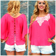 Mornington Fuchsia Criss Cross Embroidered Top
