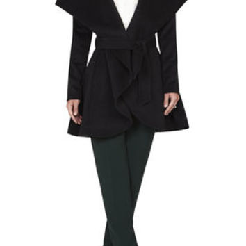 BCBG Amanda Draped-Collar Belted Coat