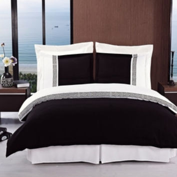 Astrid Black & White Embroidered 3-Piece Duvet Cover Set