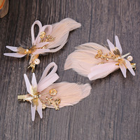 Korean Headwear Hair Accessories Gold Feather Hair Clip Accessory Wedding Dress [8779899084]