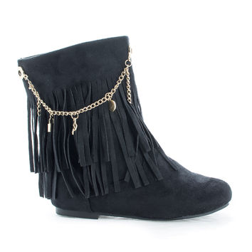Screan Black By Styluxe, Children's Girls Mid Calf Fringe Charm Chain Flat Boots