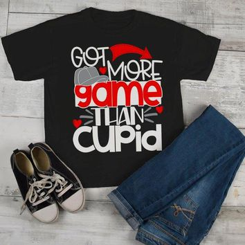 Kids Funny Valentine's Day T Shirt More Game Than Cupid T-Shirt Valentines Shirts Cute Valentine Tee