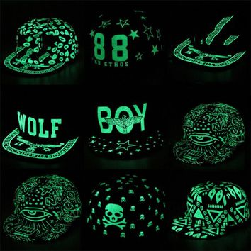 iMucci Graffiti Baseball Cap Hip Hop Fluorescent Light Snapback Caps Men Casquette Women Girl Noctilucence Hats Boy Luminous Hat