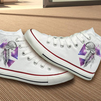 Hand Painted Unique Galaxy, Girl Design Converse Shoes