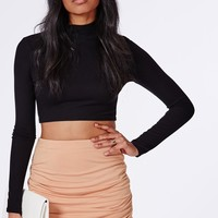 Missguided - Gathered Wrap Mini Skirt Nude