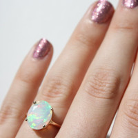 Faceted Ethiopian Opal Ring - 14k rose gold opal ring - faceted welo opal ring - opal engagement ring - 14k gold opal ring