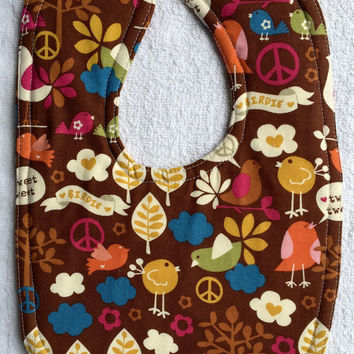 Baby bib girl bib boy bib gender neutral baby brown baby bib peace sign bib feeding bib new baby gift baby shower gift bird bib toddler,bib
