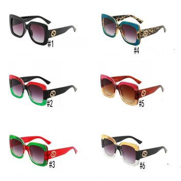 """Gucci"" Fashion Leopard Grain Personality Logo All-match Big Frame Sunglasses Glasses"