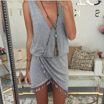 Womens Retro V Necked Tassel Dress Gray Gift 29