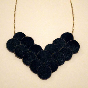 Black Leather Chevron Necklace, Circle Necklace