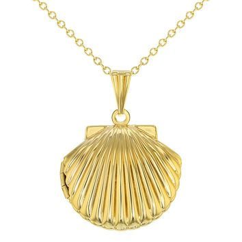 Gold Tone Seashell Pendant Photo Locket Necklace Ladies Women 19""