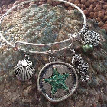 Expandable Nautical Bracelet Ocean Green Starfish Seashell Seahorse Sand Dollar and Pearl Twisted Matte Silver Adjustable Wire Bangle Gift