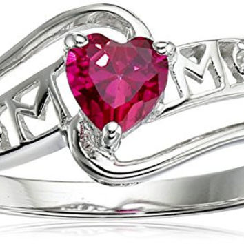 Created Ruby and Diamond Accent Mom Heart Ring in Sterling Silver, Size 7