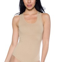 Basic Racerback Scoop Neck Bodysuit - Khaki